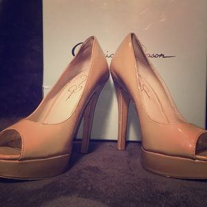 "4"" heels, Jessica Simpson, open-toe size 8. Nude."